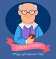 cheerful grandfather cartoon character vector image vector image