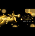 christmas and new year gold star greeting card vector image vector image
