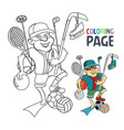 coloring page with people bring sport tool cartoon vector image vector image