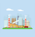 factory from the outside pipes and blast furnaces vector image