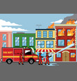 firefighter extinguish the fire on the building vector image
