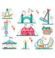 flat set of amusement park icons funfair vector image vector image