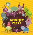 Funny monsters party card design on yellow striped vector image vector image