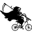grim reaper on a bicycle vector image vector image