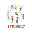 group of flat angry people protesting at strike vector image vector image