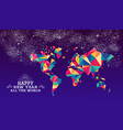 happy new year 2019 world triangle hipster color vector image vector image