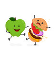 happy smile strong apple vector image vector image