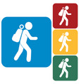 hiking tourists icon vector image vector image