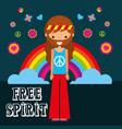 hippie man rainbow flowers free spirit vector image vector image