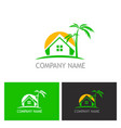 home palm tree logo vector image