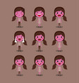 little pink girls emoticon set kawaii characters vector image vector image