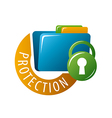 logo folder with documents protected vector image vector image