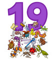 number nineteen and cartoon insects group vector image vector image