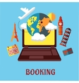 Online travel and booking flat concept vector image vector image