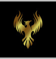 phoenix gold bird luxury logo vector image