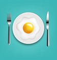 plate with fried eggs fork and knife with mint vector image vector image