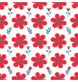 red daisy white background seamless repeat pattern vector image