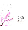 sakura background with floral tree branch birds vector image