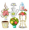 set of interior objects and tableware with vector image vector image