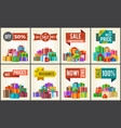 set of promo posters advertisement stickers info vector image vector image
