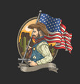 sheriff with an american flag vector image vector image