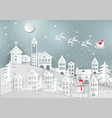 winter holiday with home and santa claus vector image vector image