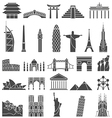 World famous monuments icon set vector image vector image