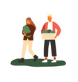 young people agricultural workers holding vector image vector image