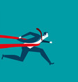 businessman successful in a finishing line vector image
