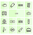 14 usb icons vector image vector image