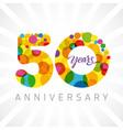 50 years bubbles ribbon colorful logo vector image vector image