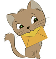 a smiling cat with an envelope on vector image vector image