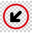 Arrow Down Left Rounded Icon vector image vector image