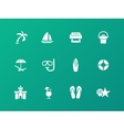 Beach icons on green background vector image vector image