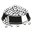 black and white overfilled pet food bowl vector image vector image