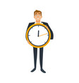 businessman and time concept with office worker in vector image vector image