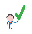 businessman character holding check mark vector image