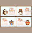 collection greeting card with pinguins vector image vector image
