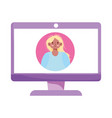 computer young woman video technology isolated vector image