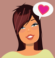 Cute brunette girl face with love message bubble vector image