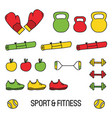 cute colorful sport and fitness doodle set vector image