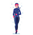 cute woman in winter gear running outside vector image vector image