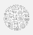 dogs round outline vector image vector image