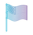 flag united states of america in pole waving in vector image vector image