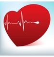 glass heart with cardiogram vector image vector image