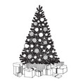 hand drawn decorated christmas tree with gift vector image