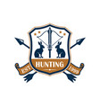 hunting sport club heraldic badge design vector image