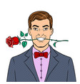 man with rose flower pop art vector image vector image
