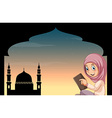 Muslim girl with mosque background vector image vector image