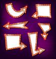 neon glowing arrow pointer set vector image vector image